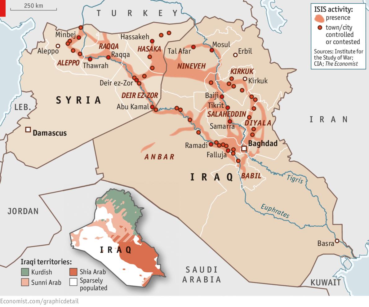 The Economist, June 2014: Areas under ISIS control